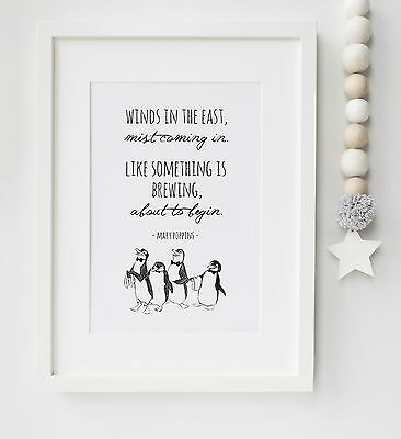 Mary Poppins Baby Quote Nursery Penguins Picture Print Christening UNFRAMED