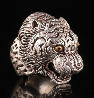 China Tibet silver miaomiao silver ring domineering old opening tiger