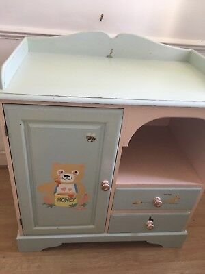 Vintage Retro changing table and cupboard with cute teddy painting