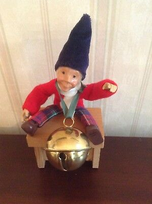 Byers Choice Kindle Miniature Bendable Figure W/Sleigh Bell on Wooden Stool