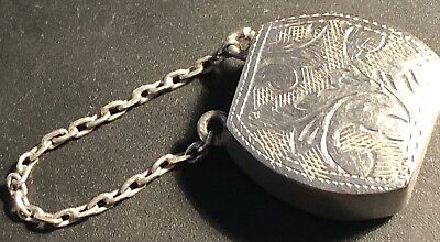An Antique Tiny Sterling Silver Vinaigrette -Attached Chain