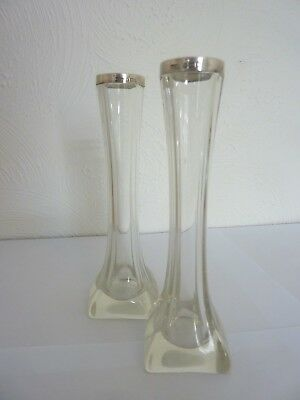 Edwardian Solid silver 925 Glass Vases pair 1906 Art nouveau