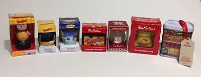 Set of 7 Tim Hortons Coffee CHRISTMAS HOLIDAY Ornaments ~  2017 New + Assorted
