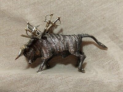 Heavy Antique Mexican Lsg Figural Sterling Silver Sabred Back Bull W/sword Pics