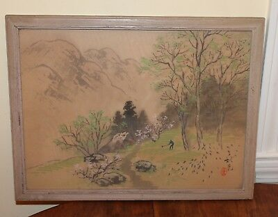 Vintage Signed Japanese Chinese Painting On Silk Country Scene Farmer Mountain