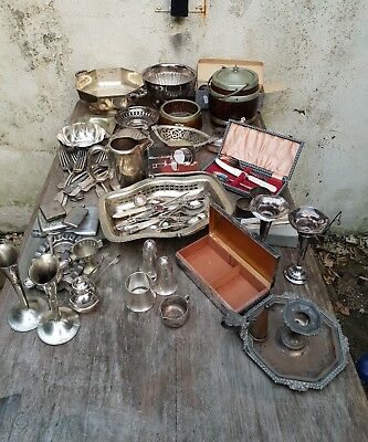 Large Joblot Of Mixed Antique/Vintage Silver Plated Items. Some Silver Content