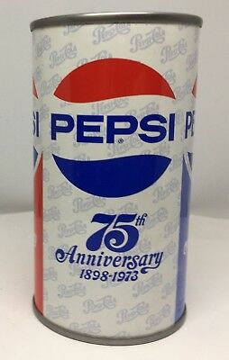 PEPSI-COLA 75th ANNIVERSARY 1893-1973 SODA POP CAN Pepsi Cola JUICE TAB! SS IN
