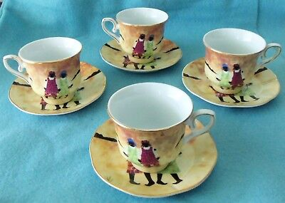 4 Cup And Saucers In Mint Condition...black Americana