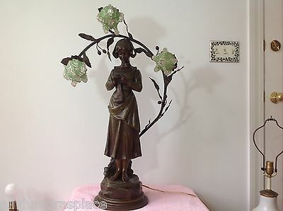 Antique Art Nouveau Deco Bronze Spelter French Figural Newel Post Lamp RANIERI