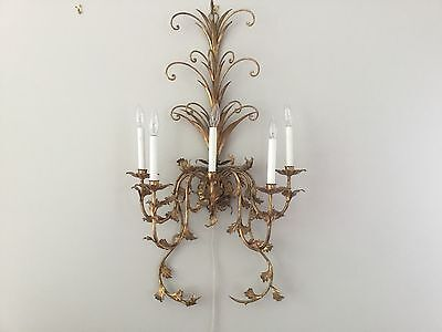 """1 Vintage French Gilt Tole Crystal Wall Sconces 39"""" 5 light Wall Chandelier HUGE"""