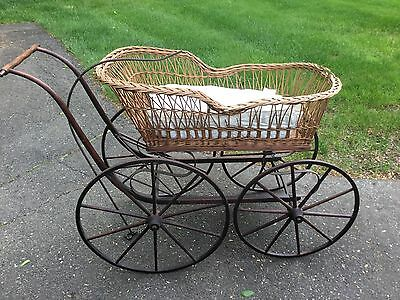 1800's Antique Wicker Baby Carriage Buggy Stoller