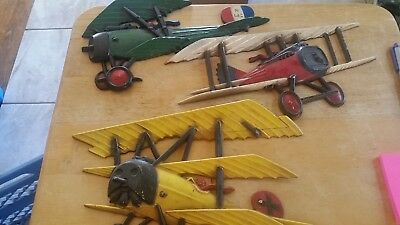 Lot 3 Vintage Ww1 Tri & Bi Planes 1232-Bx-A, B & C Wall Plaque Made In Usa 1975