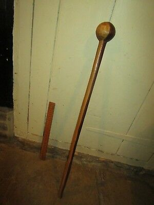 Antique African two tone wooden Knobkerrie.African Knobkerrie fighting club.
