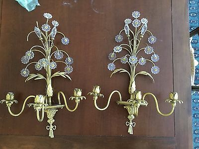 Vintage Pair Brass Crystal Beaded Chandelier Wall Sconces Candelabras
