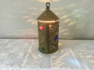Antique Jeweled Lantern Candle Holder Chandelier Punched Bradley Hubbard Era