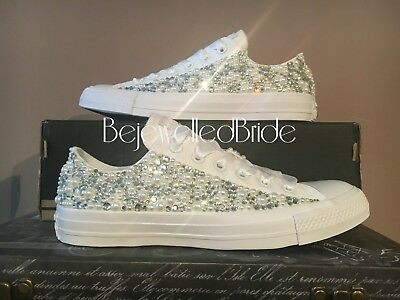 wedding converse trainers with crystals, lace & pearls