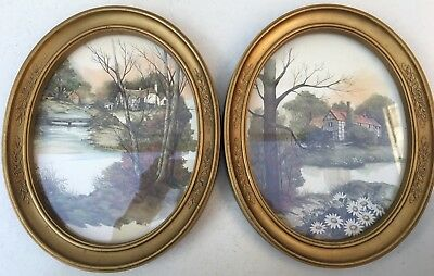 Pair Of Vintage 1983 Homco Oval Pictures House on Creek Rock Water Nature 3254