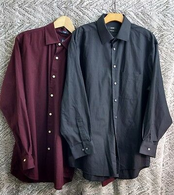 Lot of 2 Men's Button Down Shirts- Gap and Alfani-Large- Black and Burgundy A001