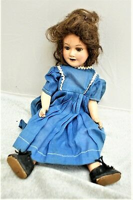 """Vintage """"ideal"""" Composite Doll, 15"""" Long W/ Sleep Eyes , Open Mouth W/ Teeth"""