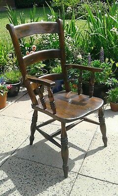 Antique Windsor Elm Seat Armchair Farmhouse Elbow Carver Smoker  Country Chair