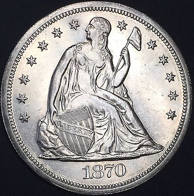 1870 Seated Liberty Silver Dollar Uncirculated Ms+ Details Coin Pl Surfaces