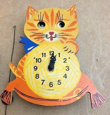 vintage black forest german novelty cat clock moving eyes parts only restoration