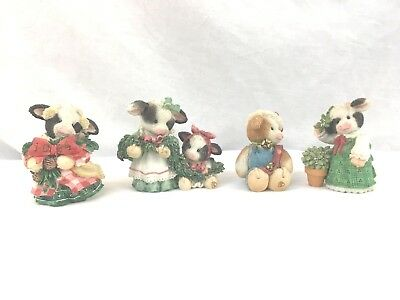 Mary Moo Moos Lot of 4 Cow Figurines Christmas Themed 3 are 1994, 1 is 1996