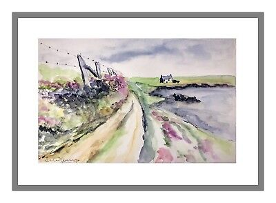 Original Watercolour Painting: Coastal Cottages in Wales by Jeevitha Naveen