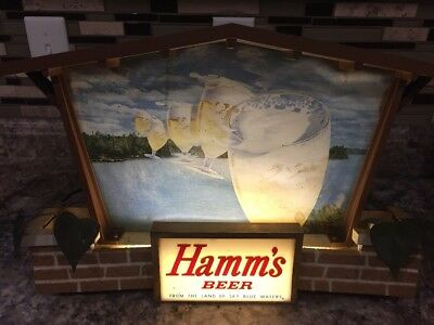 1960s HAMM'S Beer 5 FLYING GOBLETS In Sky Brick House SIGN