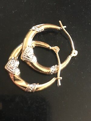 Solid 14K Gold Hoops With White Gold Hearts And Swirl Design Scrap Or Not