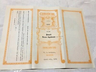 1924 Powell Lease Syndicate Certificate Units $10 Fort Worth Texas Oil Drilling