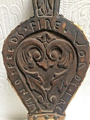 Beautiful Antique Black Forest Carved Wood Fireplace Bellows