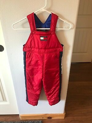 Vintage Tommy Hilfiger Insulated Snow Bib  Overalls  Kids Size 3T Flag Red