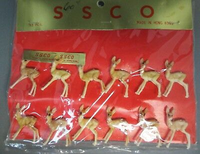 Vintage SSCO Set of 12 Miniature Deer Figures - Hong Kong - NIP