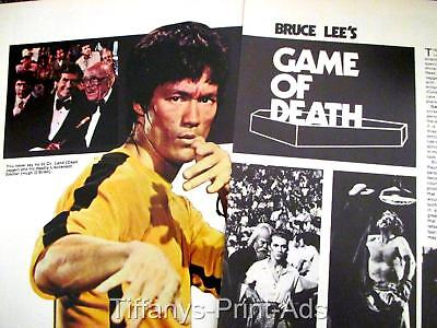BRUCE LEE * Game Of Death * 2 page Magazine CLIPPINGS Article Photo * 1970s