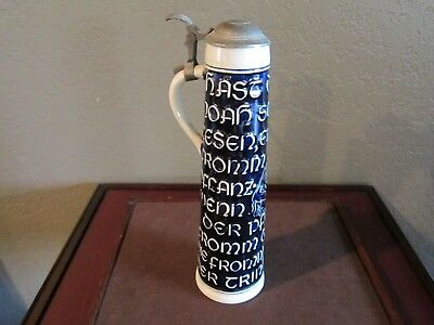 Rare Vintage Ww Brand West German Pewter Lid Slim Hand Made Beer Stein 531 Ml.