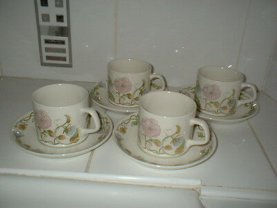 Vintage Retro J&g Meakin Sweet Pea 4 Cups And Saucers - Very Rare Design