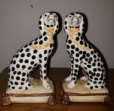 vtg 1975 pair FITZ & FLOYD dalmation dog BOOKENDS STATUES staffordshire mint