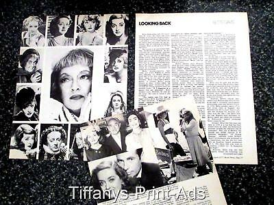 BETTE DAVIS  Film Star * 3 page Magazine CLIPPINGS  Feature Photo * Dated 1970s