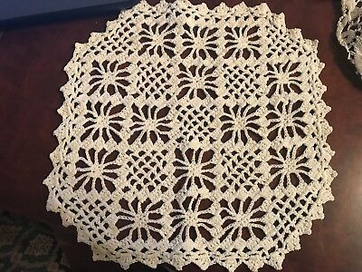 Vintage Handmade Hand Crocheted Lace Doily Table Mat