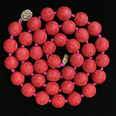 Large Antique Chinese Carved Cinnabar Beaded Necklace