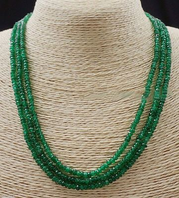 "3 Rows 2X4mm FACETED GREEN EMERALD ABACUS BEADS NECKLACE 17-19"" AA"