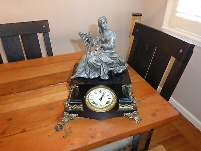 Rare Exquisite Ansonia Cast Iron Clock w/ Applied Brass Decorations and Topper