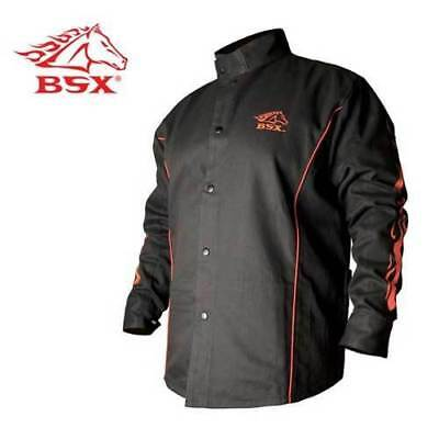 Revco Industries BX9C-L BSX Contoured FR Welding Black w/ Flames Jacket, Large