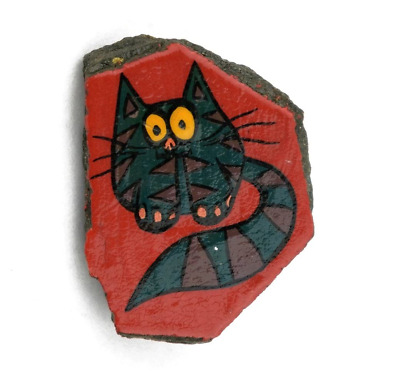 Cat Pin Vintage Hand Painted Stone