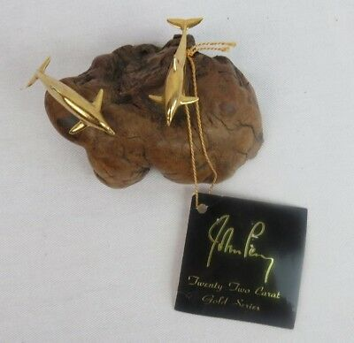 Vintage John Perry Twenty-Two Carat Gold Series Dolphins Burled Wood Sculpture