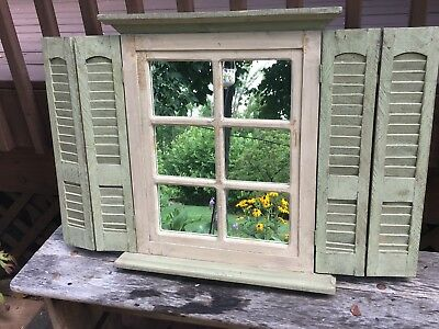 Vintage Sage Green Window Mirror Shutter Wall Hanging Tagged Home Interiors