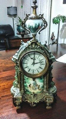 French spelter and enamal clock