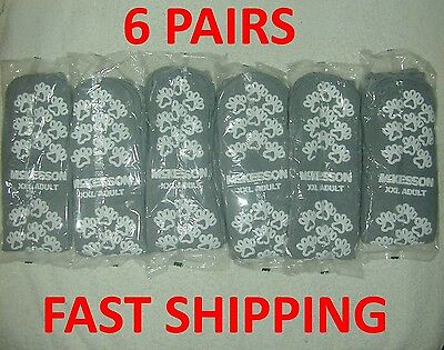 6 Pair McKesson Gray XXLarge Non Skid Hospital Travel Slipper Socks Above Ankle