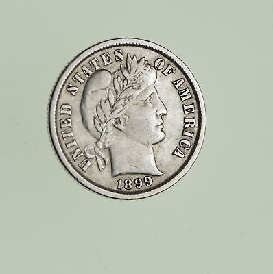 10c - Choice - 1899 - Barber Dime - Look at the Detail! *708